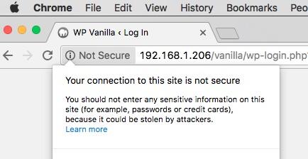 Screenshot of HTTPs warning on Google Chrome