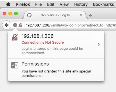 Screenshot of HTTPS warning on Firefox
