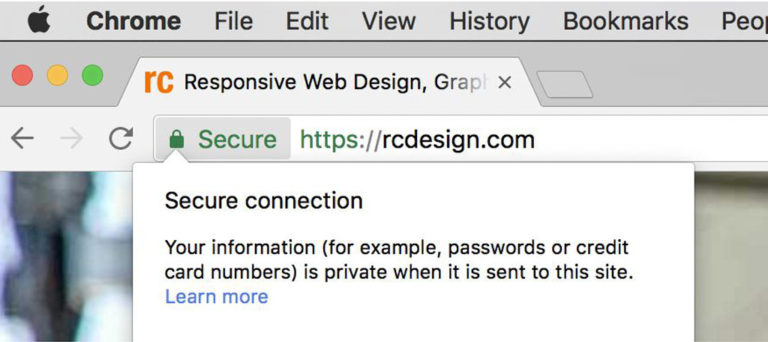 A screenshot of the secure RC Design website with a proper HTTPS certificate