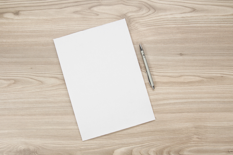 A blank piece of paper on a table